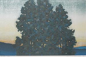 星襄一「杉(朝)」木版画