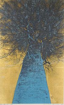 星襄一「高い梢(A)」木版画