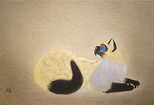 加山又造「若い猫」木版画