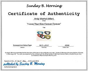 アンディ・ウォーホル「I Love Your Kiss Forever Forever」certificate
