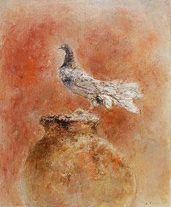 須田寿「鳩と壷」油彩