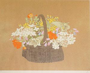 堀文子「山の花達」孔版画