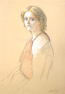 小磯良平「外国婦人」パステル 1979年