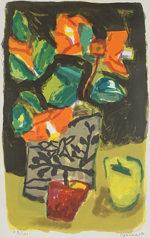 中川一政「椿(小)」版画56×42cm