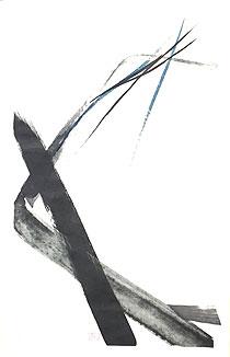 篠田桃紅「雨後」手彩色版画 軸装