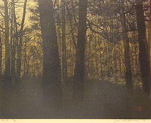星襄一「林の中」木版画 1976年