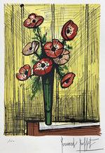 ベルナール・ビュッフェ「アネモネ」版画33×24.5cm