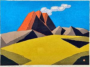 畦地梅太郎「浅間山'53」木版画 1953年