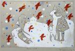 山本容子「晩年の子供」手彩色銅版画 1991年
