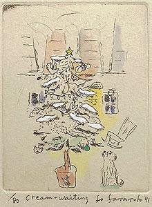 山本容子「cream-waiting」手彩色銅版画 1991年