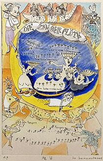 山本容子「魔笛」手彩色銅版画 2006年