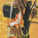 早川義孝「林の中で見つけた夜」水彩25×25cm