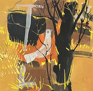 早川義孝「林の中で見つけた夜」水彩