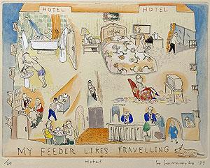 山本容子「Hotel」手彩色銅版画 1989年