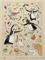 山本容子「La Cuisine」手彩色銅版画 2001年