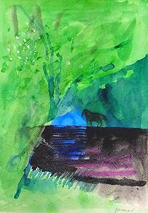ポール・ギヤマン「森の中の馬」水彩