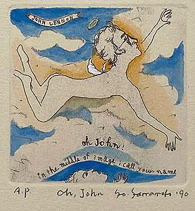 山本容子「Oh.John」手彩色銅版画 1990年