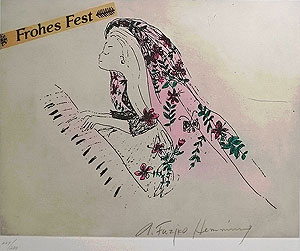 フジ子・ヘミング「結婚式・オルガン弾きの少女」銅版画