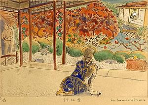 山本容子「詩仙堂」手彩色銅版画 2012年