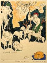 山本容子「Sleeping Lucas」手彩色銅版画 1994年