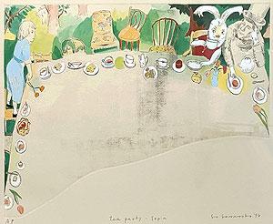 山本容子「tea party-sepia」手彩色銅版画 1994年