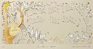 山本容子「鳥の歌2-green」手彩色銅版画 1998年