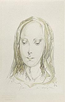 藤田嗣治「ヴェールを被った聖母」版画 1964年