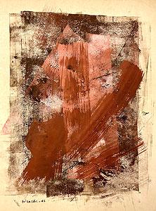 因藤壽「作品62-1-1」ガッシュ・クレヨン 1962年