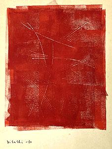因藤壽「作品62-1-2」ガッシュ・クレヨン 1962年