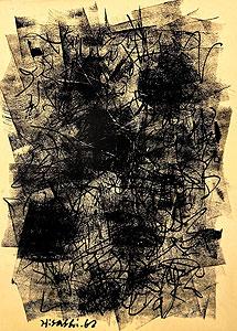 因藤壽「作品62-1-3」ガッシュ・クレヨン 1962年