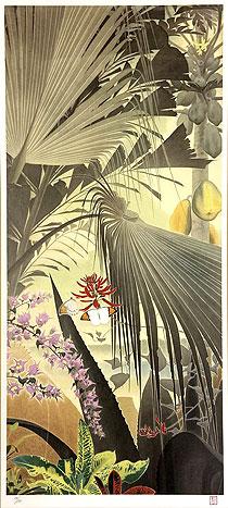 田中一村「ビロウとブーゲンビレア」版画 2007年