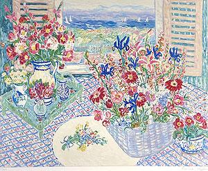 レスリー・セイヤー「カタリナ・ビュー」版画 1985年