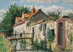西村正次「シュブルーズ風景」油彩 1975年