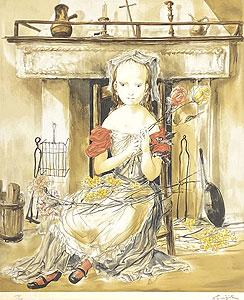 藤田嗣治「暖炉の前の少女:エスタンプ」版画