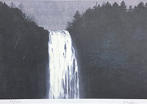 千住博「滝 崖の木」版画 1994年