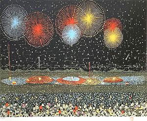 山下清「長岡の花火」版画