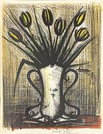 ベルナール・ビュッフェ「黄色いチューリップの花瓶」版画 1960年