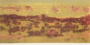 星襄一「野」木版画 1974年