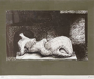 ヘンリー・ムーア「建造物を背に横たわる人物 I」版画 1977年