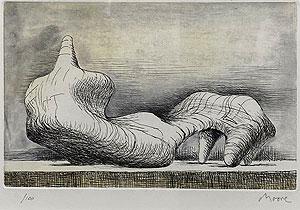 ヘンリー・ムーア「横たわる人物」銅版画 1976年
