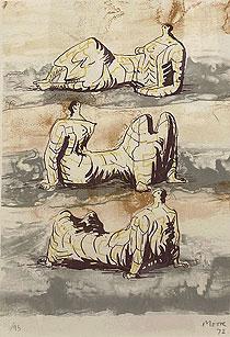ヘンリー・ムーア「三人の横たわる人物」版画 1971年