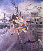 タカノ綾「夜の散歩「ピンクの月が現れる」」オフセットポスター 2005年