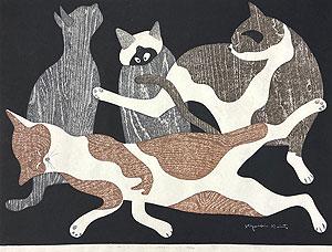 斎藤清「ねこ」木版画 1973年