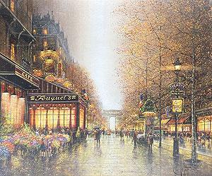 ギィ・デサップ「パリ・シャンゼリゼ」キャンバス版画20号