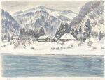 真下慶治「雪の小外川」版画27.5×37.5cm