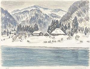 真下慶治「雪の小外川」版画