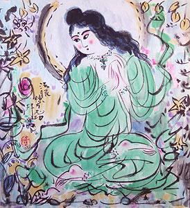 棟方志功「緑衣施無畏御尊図」版画 2007年