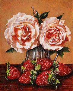 山中雅彦「薔薇と苺」油彩