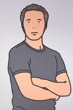ジュリアン・オピー「Julian with t-shirt. 2005」オフセット