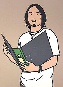 ジュリアン・オピー「Hirofumi with file. 2005」オフセット